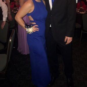 Royal blue prom dress.